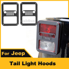 2pcs Matt Black HID LED Taillight Covers Rear Lamp Hoods For Jeep Wrangler 2007 - 2013 2014 2015 Car Styling Tail Light Guards(China (Mainland))