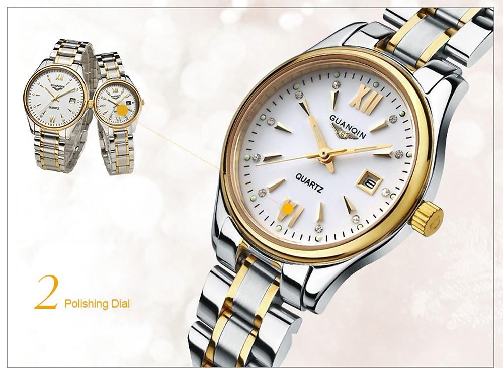 Guanqin пара календарь горный хрусталь световой кварцевые часы с 30 м водонепроницаемость