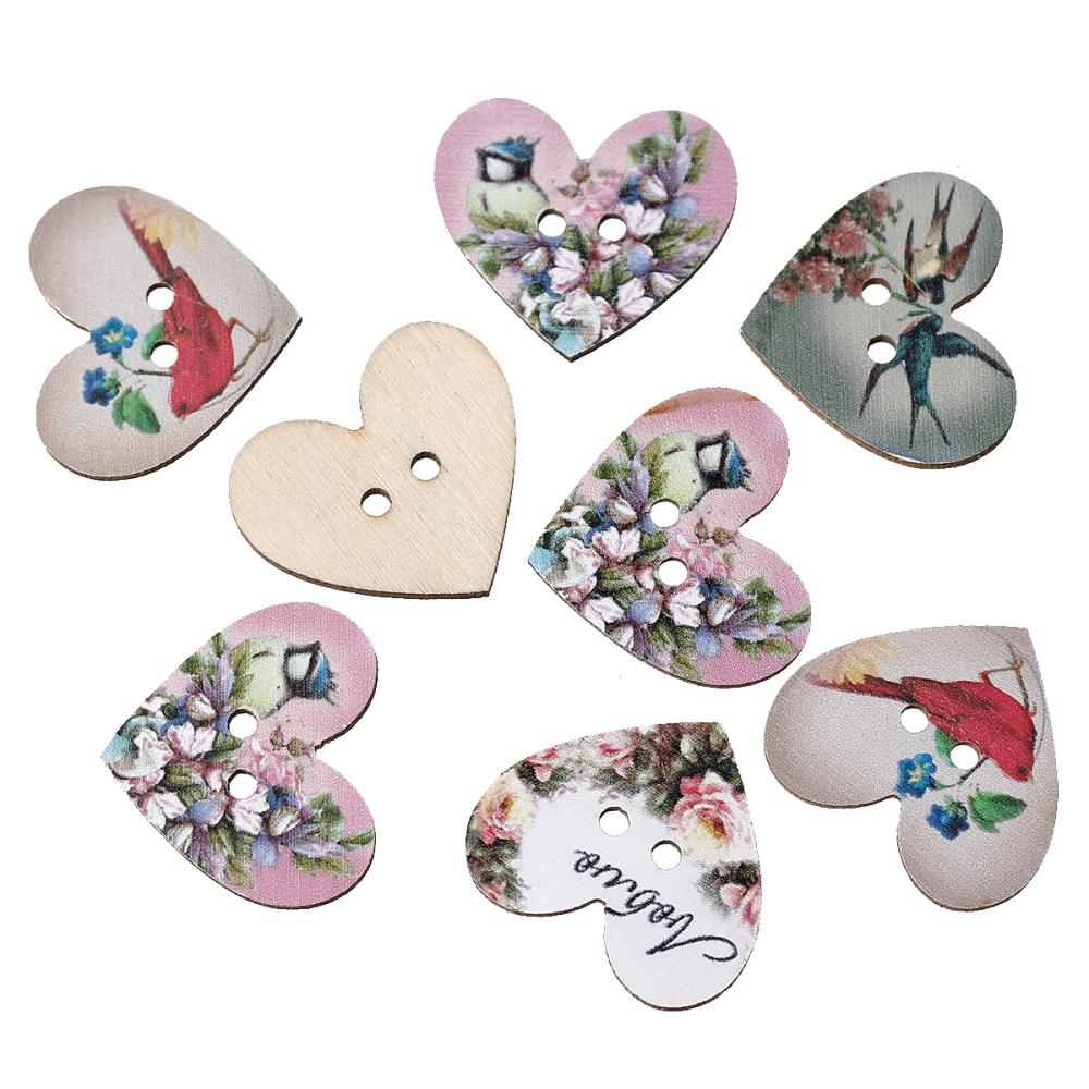 Wood Sewing Button Scrapbooking Heart At Random Two Holes Flower Pattern 28.0mm x 24.0mm,50 PCs 2015 new(China (Mainland))