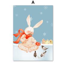 Kaninchen Tiere Leinwand Malerei Nette Cartoon Nordic Poster Und Drucke Wand Kunst Bilder Für Wohnzimmer Kindergarten Kinder Wohnkultur(China)