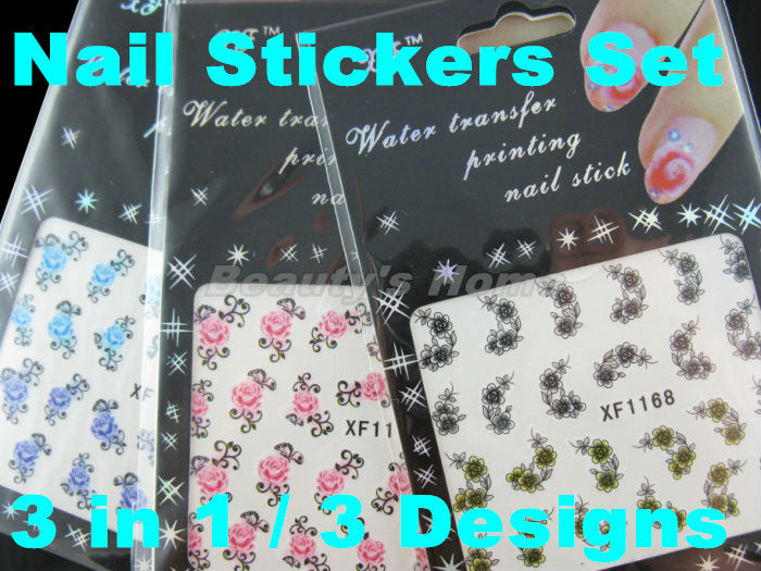 3 1 different designs set Water transfer nail adhesive Nail Stickers decals Art flower #1411 - Packing Supplier(Bottles and Jars store)