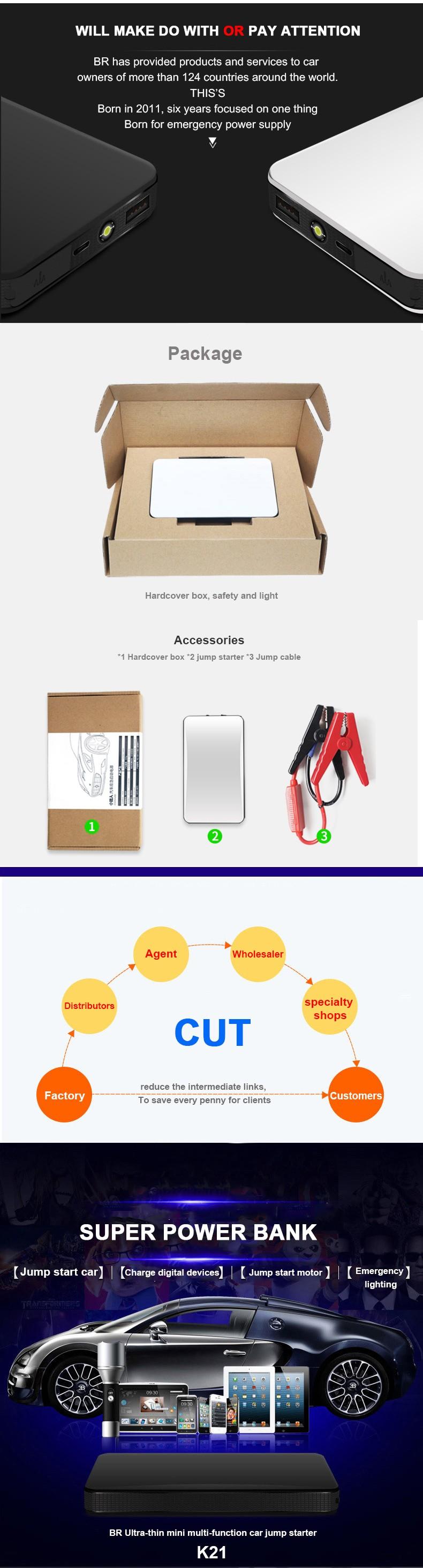 Multifunction Car Jump Starter Mini Emergency Charger Battery Booster Power Bank Jump Starter for 12V gasoline Car