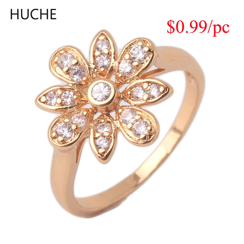 HUCHE $0.99 Lose Money Promotion Fashion Jewelry Rings For Women 24K Gold Plated AAA Cubic Zircon Crystal Flower Ring A072/A073()