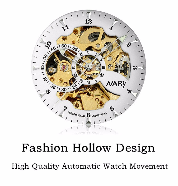 Nary Hollow Watches Men Fashion Business Leather Wristwatch Stainless Steel Waterproof Automatic Self-Wind Watches Relogio W0812