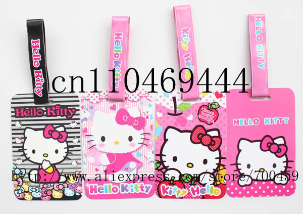 Free shipping 12pcs hello kitty Fashion bags / luggage tag / consignment card / travel tag / luggage checked identification card