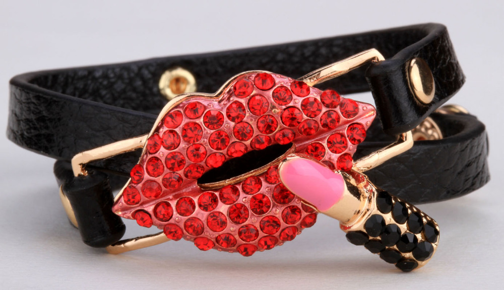 Black leather Lips charm wrap bracelet for women girls cute love jewelry top fashion valentine gifts LD22 wholesale dropshipping(China (Mainland))