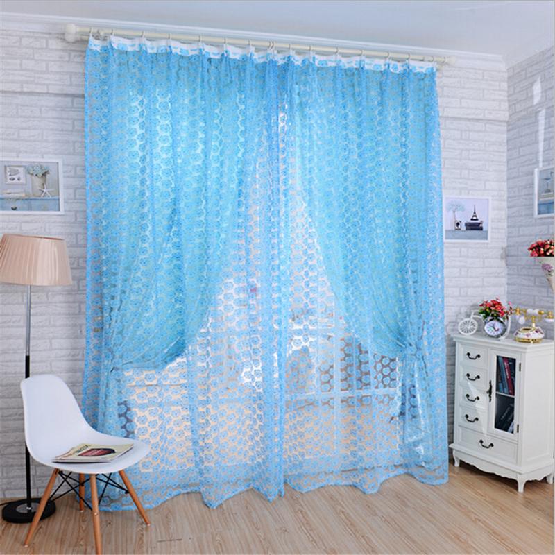 Offset Printing Rose Bay Window Decorative Curtain Bedroom Kitchen Window Screening Curtain(China (Mainland))