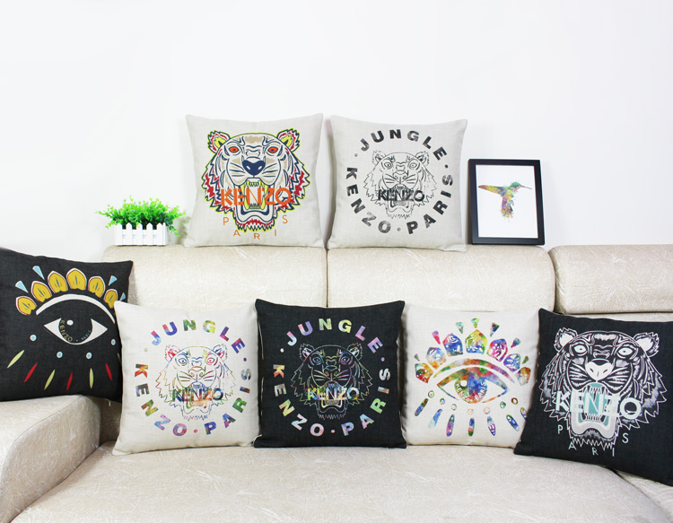 Free Shipping Wholesaler 100% New Pillow Cover Kenzo Good Quality Pillowcase Home Decoration Good Almofadas Coussin Decoration(China (Mainland))