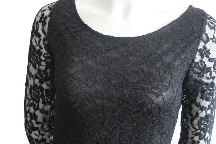 Макси платье 2016 мода осень новое поступление женщины одеваются сексуальные кружева сплошной ну вечеринку платья о-образным шею три четверти платье горячая распродажа LWW01 платье платья женские платье женское