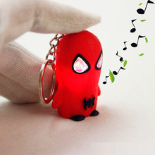 New Spider Man LED Flashlight Keychina with sound action toy figures Spider Man Keychain toys gift for child kids toys