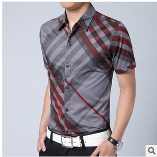 Men's t-Shirt Slim Leisure Thin Mens Dress Shirts Short Sleeve Shirt Printed Large Size Male Casual Grid Y07 - Chuck Zarek store