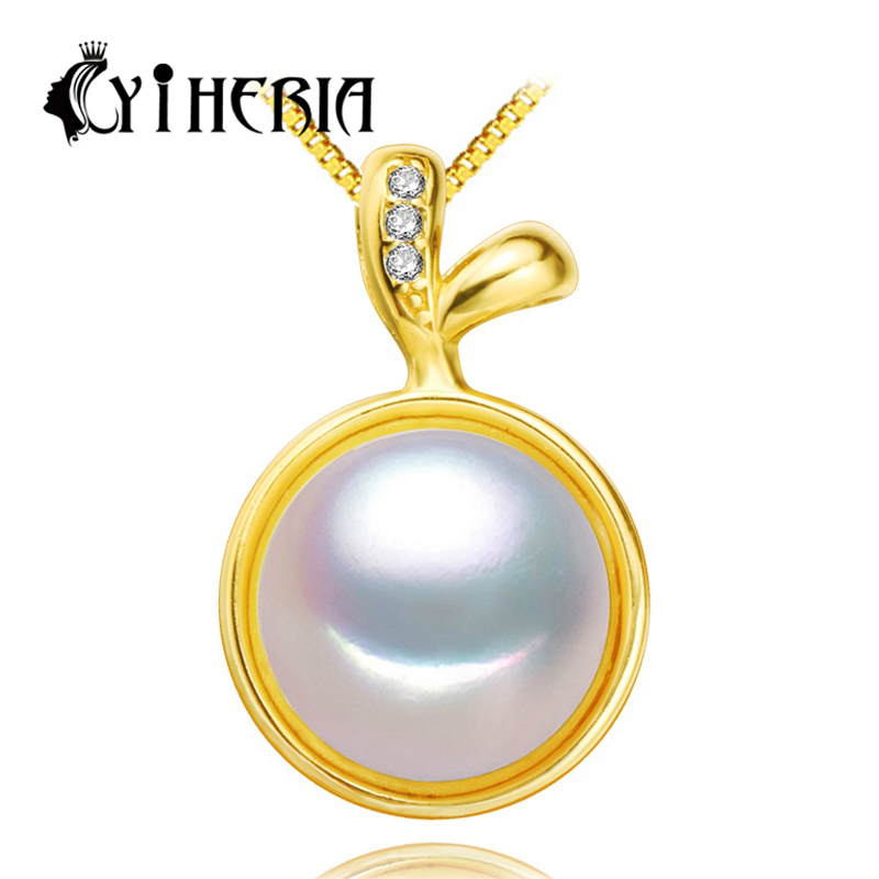 Gold Plated freshwater Pearl Pendant Necklace Natural real genuine Pearl jewelry , 2016 new Pearl Pendant ,11-12mm pearl(China (Mainland))