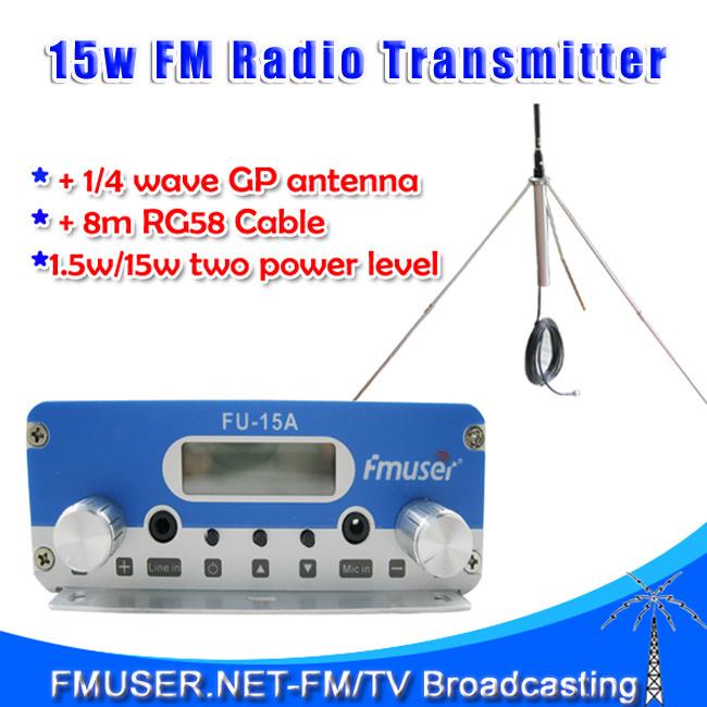New! FMUSER FU-15A 15W stereo PLL FM transmitter broadcaster GP antenna power KIT radio transmitter(China (Mainland))