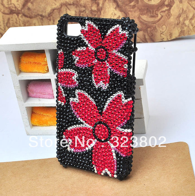 Handmade Black Hard Cell Phone Case or Cover For iPhone 4 4s 5, Rhinestone Red Flower Free Shipping