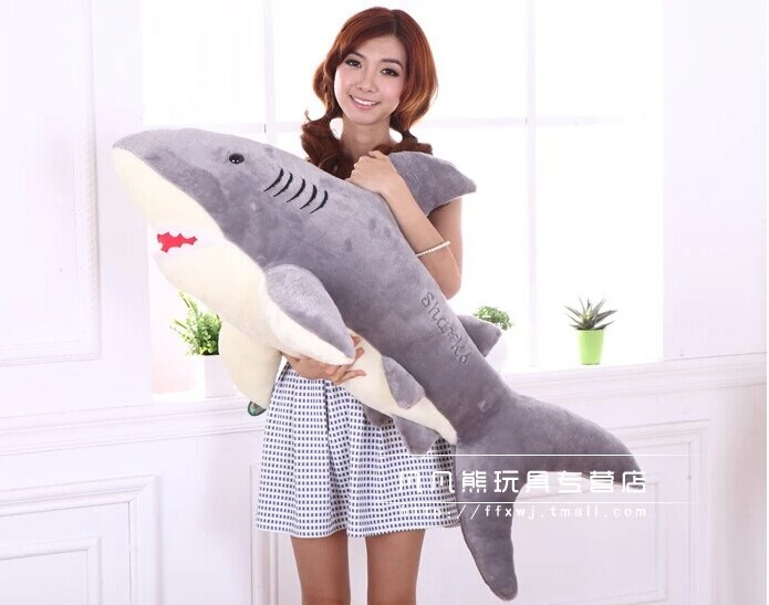 stuffed animal 110cm grey shark plush toy doll throw pillow birthday gift w3576<br><br>Aliexpress