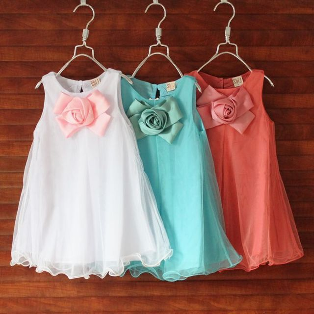 2014 girl's fashion apparel 3~7age flower kid party girl dress children clothing free shipping 1pcs retail