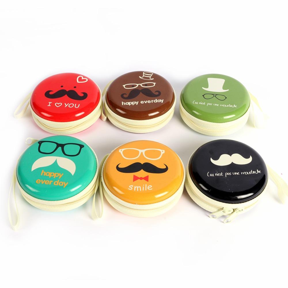 Mini Portable Moustache Metal Earphone Headphone Storage Pocket Carrying Zipper Case Bag Holder Free Shipping<br><br>Aliexpress