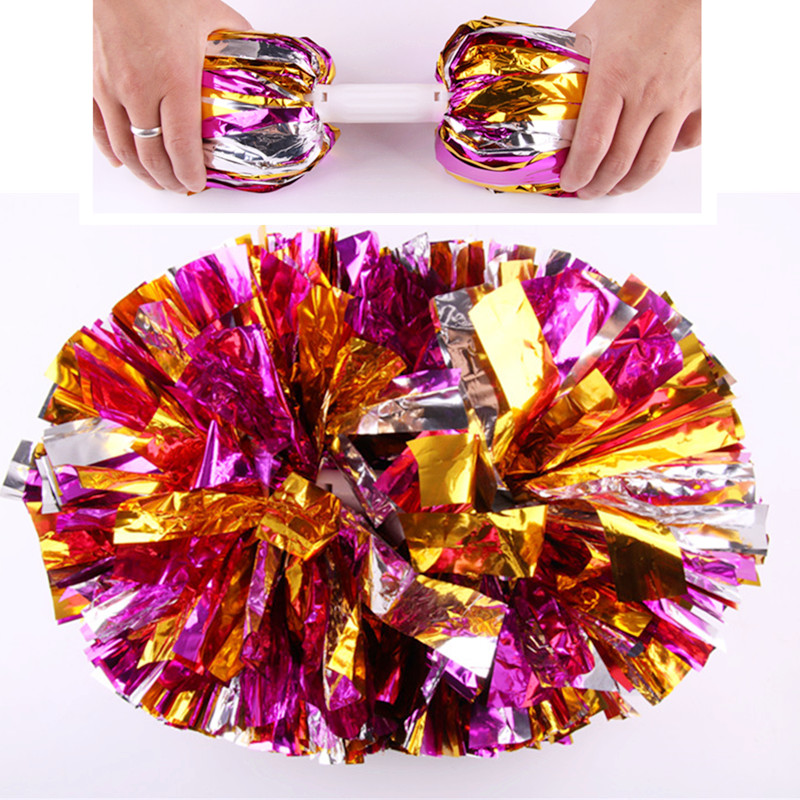 1pcs Metal Cheerleading Pom Poms Aerobics Show Dance Hand Flowers for Football Basketball Match Pompon(China (Mainland))