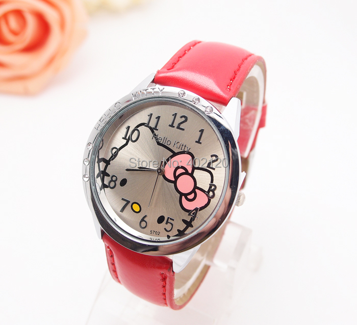 Wholesale hello kitty cartoon children watch women fashion quartz wrist watch 8568(China (Mainland))