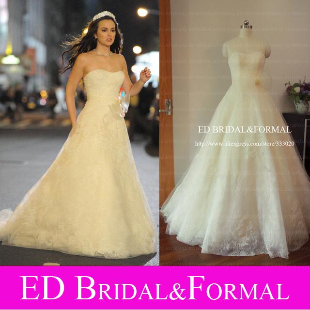 Real Sample Picture A Line Wedding Dresses Gossip Girl Blair Wedding Gown Designer Celebrity Wedding Dress(China (Mainland))
