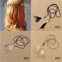 Summer Style Casual Boho Long Feather Beads Headband Women Hair Accessories(China (Mainland))