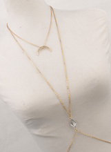 Charming Crossover Harness Crystal Moon Golden Necklace Waist Belt Belly Body Chain Jewelry Free Shipping