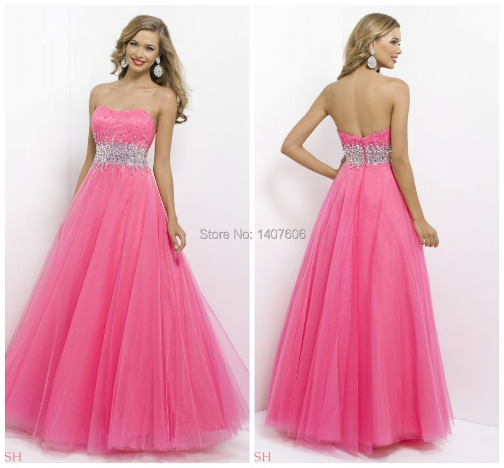 New Arrival 2015 High Fashion 2014 A Line Beading Sweetheart Empire Hot Pink Graduation Dress Long Prom Party Gown Vestido Longo(China (Mainland))