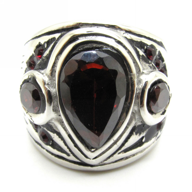 free shipping unique mens silver ruby