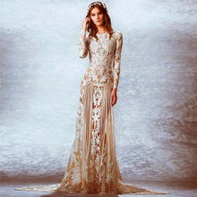 Vintage Champagne Long Sleeves Plus Size Wedding Dresses with Sleeves See Through Lace Wedding Gowns Mermaid vestido novia 2016(China (Mainland))
