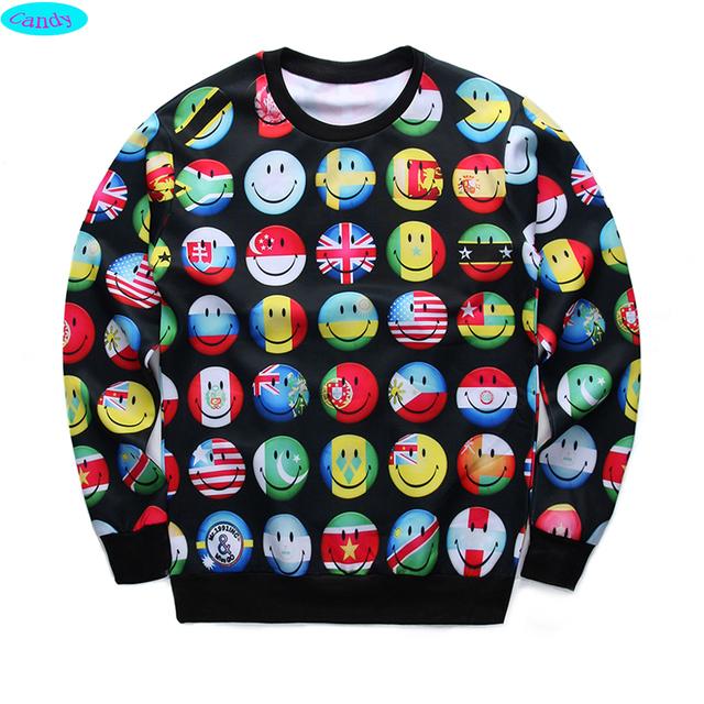 Новые прибытия молодежи мода 3D флаг emoji печатных толстовки парни подростки весна осень тонкие кофты больших детей бегуном sportwear W15