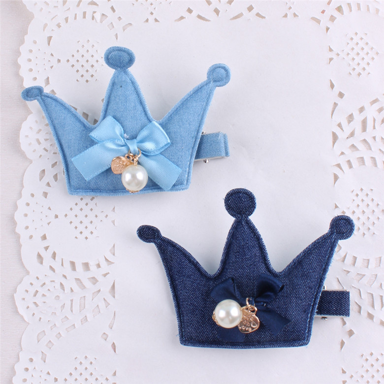 New Arrival Girl Kids Baby Dot Fox CrownHairpins denim Bowknot Hair Clip Children Barrette Hair Accessories(China (Mainland))