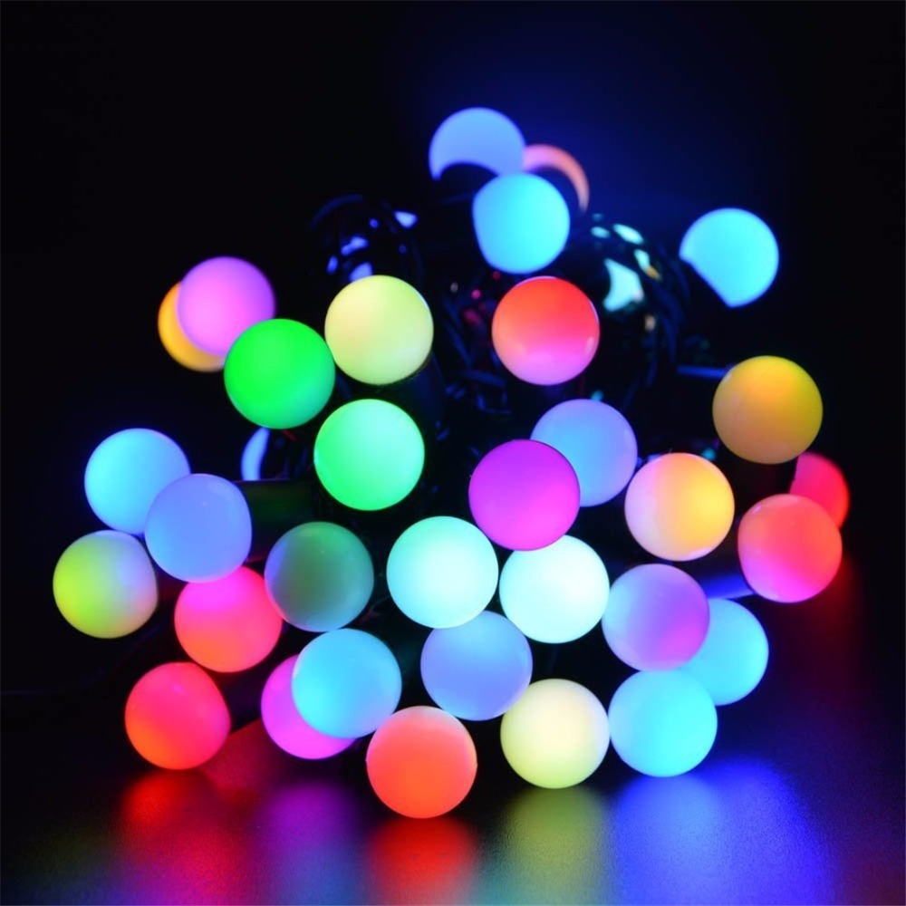 solar powered led outdoor string lights 5m 30leds crystal ball globe fairy strip lights for outside garden patio party christmas