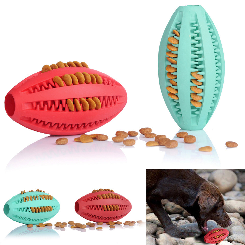 New Pets Dog Toy Rubber Rugby Football Toys for Dog Cat Pet Training Have Fun Diet Control Dental Massaging Ball 2 Colors 1pcs(China (Mainland))