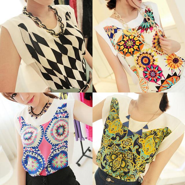 Jingjing 2013 summer women's vintage short-sleeve shirt top women's chiffon shirt tx1998