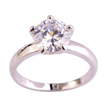 Wedding New Fashion Attractable Dazzling Round Cut White Topaz 925 Silver Ring Size 6 7 8 9 10 11 12 Wholesale Free Shipping