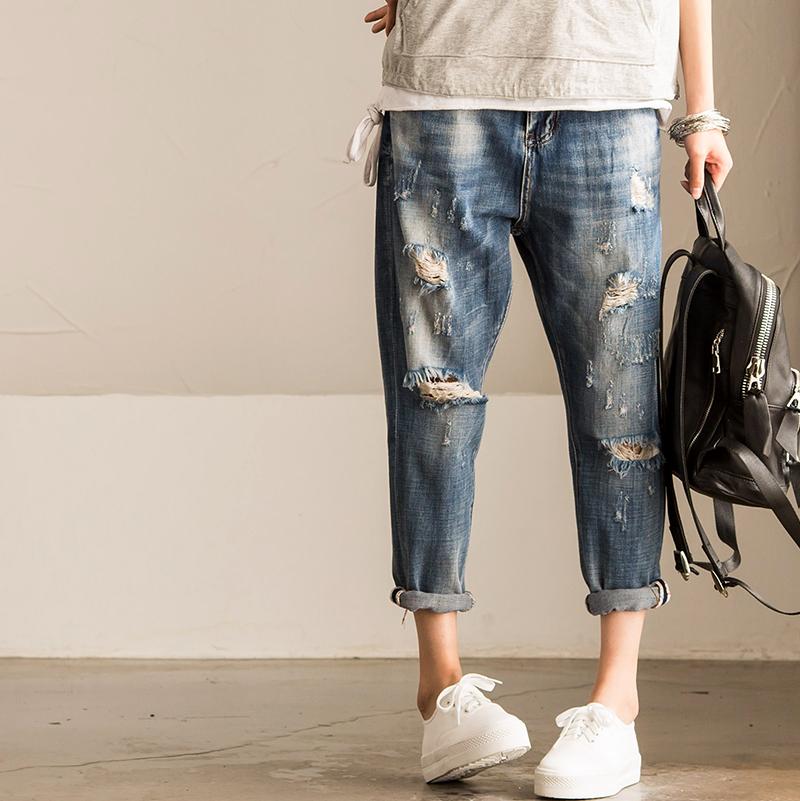 N512a casual retro finishing hole straight jeans female 2016(China (Mainland))