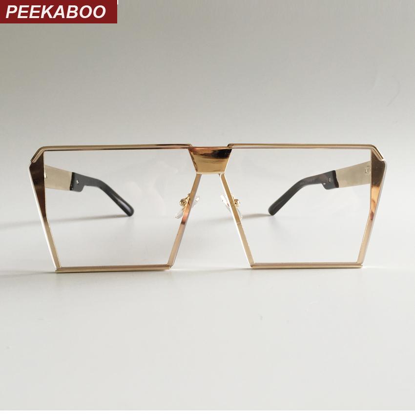 Peekaboo fashion one piece square frame glasses gold frame women 2017 clear lens eyewear frames men luxury brand metal