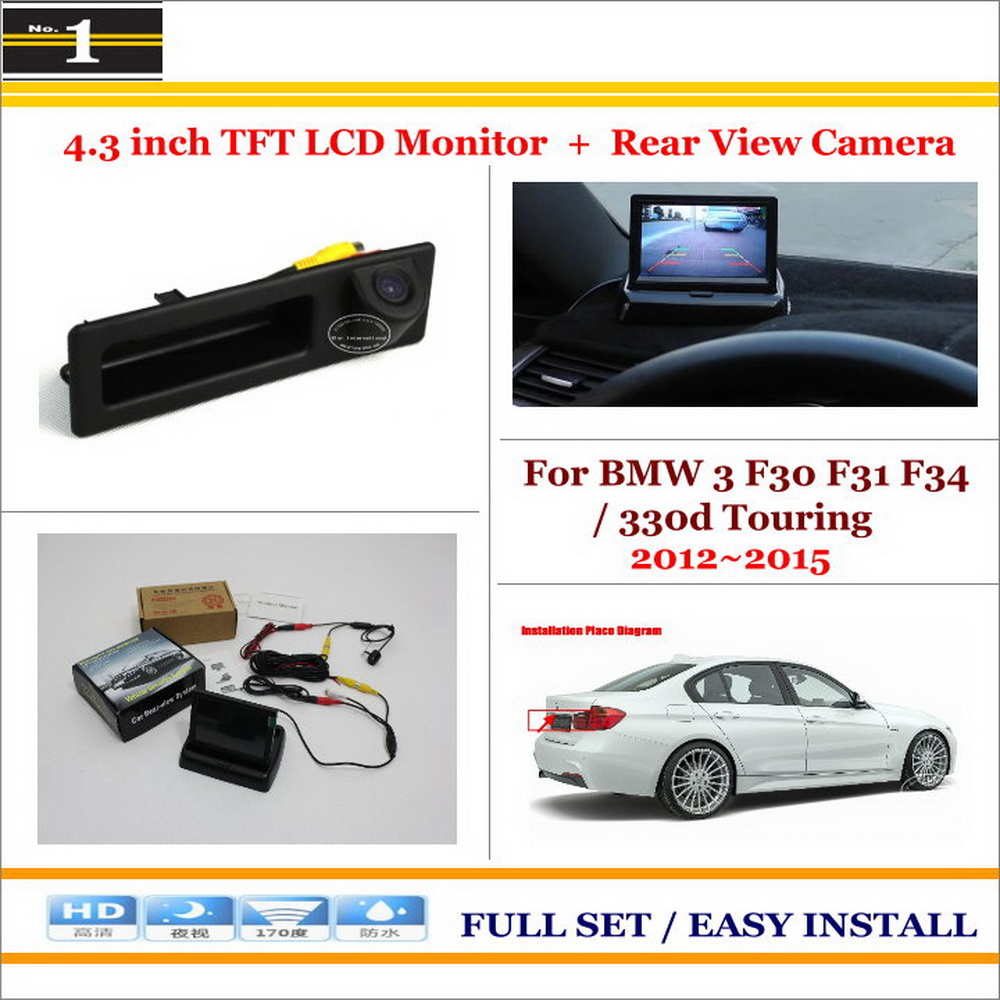 Auto Back UP Reverse Camera + 4.3 Color LCD Monitor = 2 in 1 Rearview Parking System / For BMW 3 M3 F30 2012~2014<br><br>Aliexpress