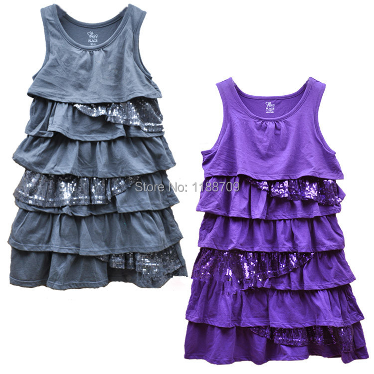 The original PIACE girls Evening dress children cotton dresses soft comfortable fabric embroidered with sequins ages 5-12Y(China (Mainland))