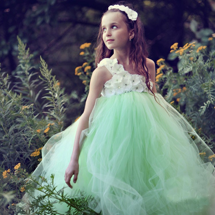 Newest Designs 2016 One Shoulder Puffy Mint Tulle Flower Girl Dresses For Weddings Cheap Fashion
