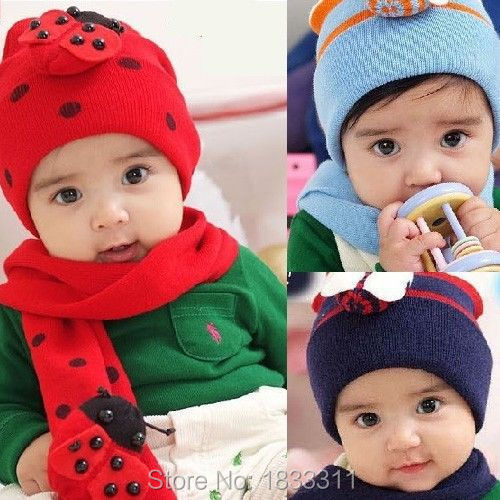 Cute Winter Knit Beanie ( Hat Cap + Scarf ) Set Crochet For Baby Kids Girls Gift(China (Mainland))