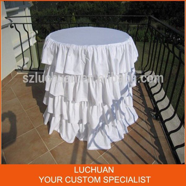Fancy Product Tiered White 120 Round Tablecloth(China (Mainland))