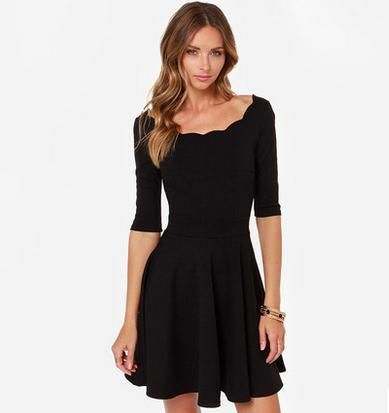 Special Offer 2015 Spring New Ladies Elegant Cute Solid Slim Waist A-Line Half Sleeve One-piece Dress