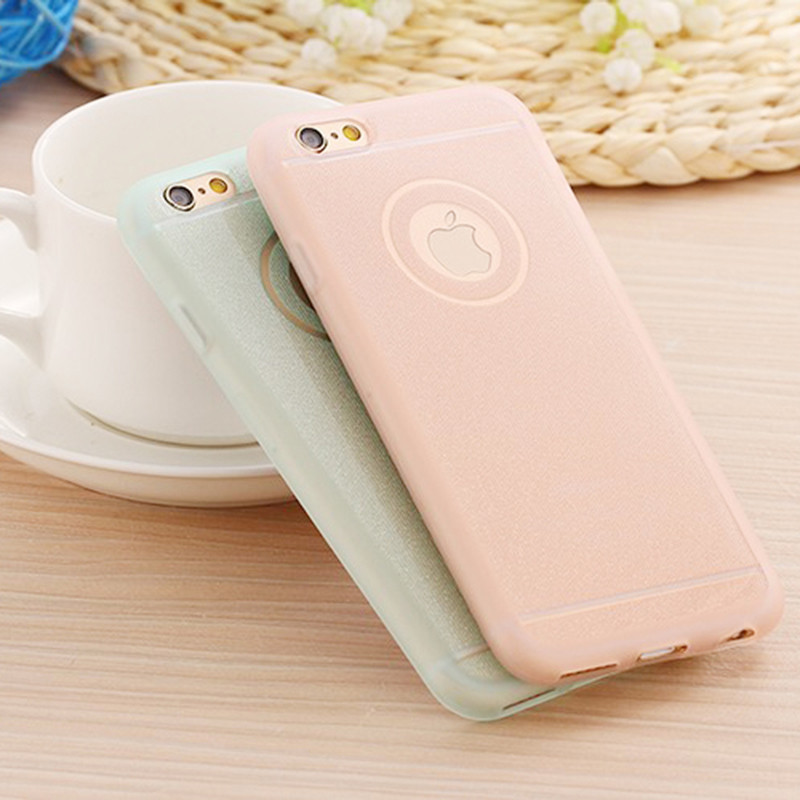 Cute Candy Colors Glitter Powder TPU Case Cover For iPhone SE 5 5s 6 6S Plus 6Plus Cases With Logo Thin Shining Gel Back Skin