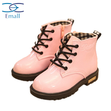 2015 spring new cylinder bright candy colored children Martin boots boys shoes girls boots with thick cotton boom