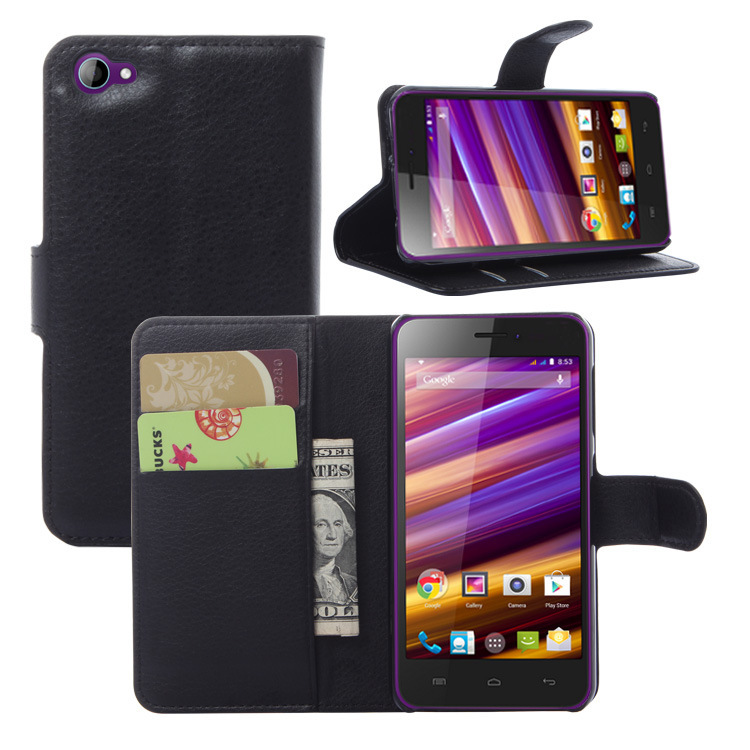 3 luxury Litchi wallet leather cover case card holder Wiko Jimmy
