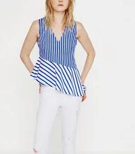 Brand Design 2016 za women elegant  v neck striped print patchwork blouses shirts cheap sleeveless hem irregular ruffle blusas(China (Mainland))