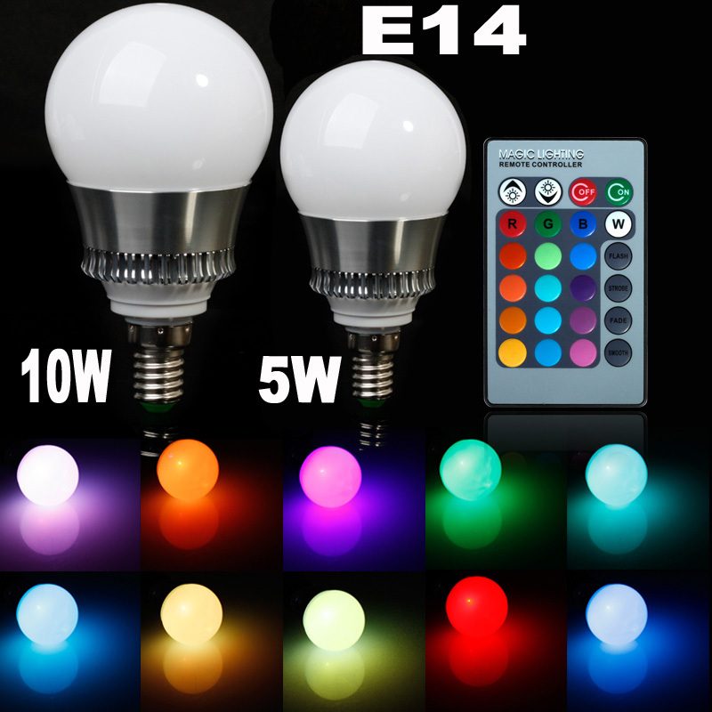 5w/10w E14 LED RGB bulb AC85~265V 32 COLORS Bulb Light Spot Lamp + Romote controller Bright Limited Offer - Professional Manufacturer store