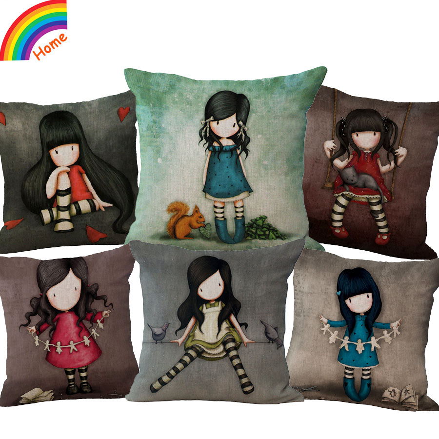Four Seasons Series Lonely Girl Doll Cotton Decoration Cushion