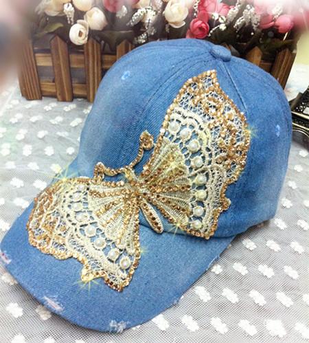 2014 new girls caps with diamond ladies hats trend of female lace butterfly diamond baseballcap sun fashion snapback hats(China (Mainland))
